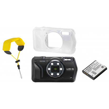 Ricoh WG-6 Kit, black (extra battery + protector jacket + floating strap)