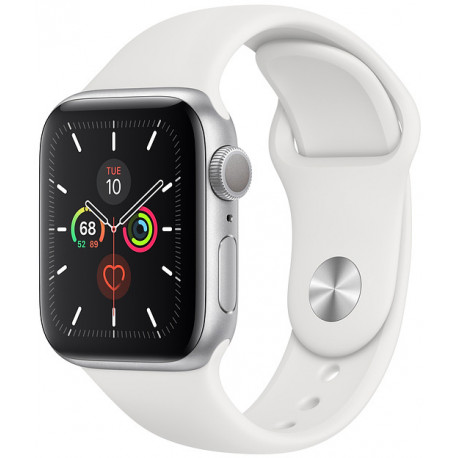 Apple Watch 5 GPS 44mm Sport Band, sudrabots/balts