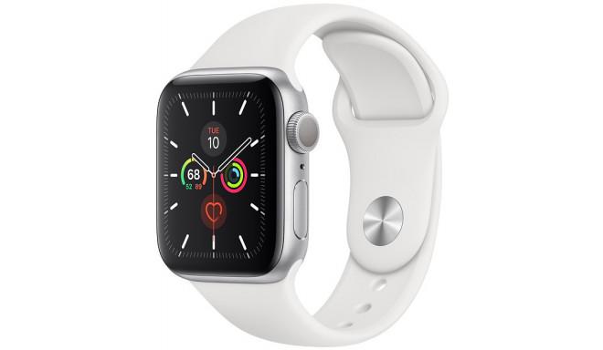 Apple Watch 5 GPS 44mm Sport Band, sudrabots/balts