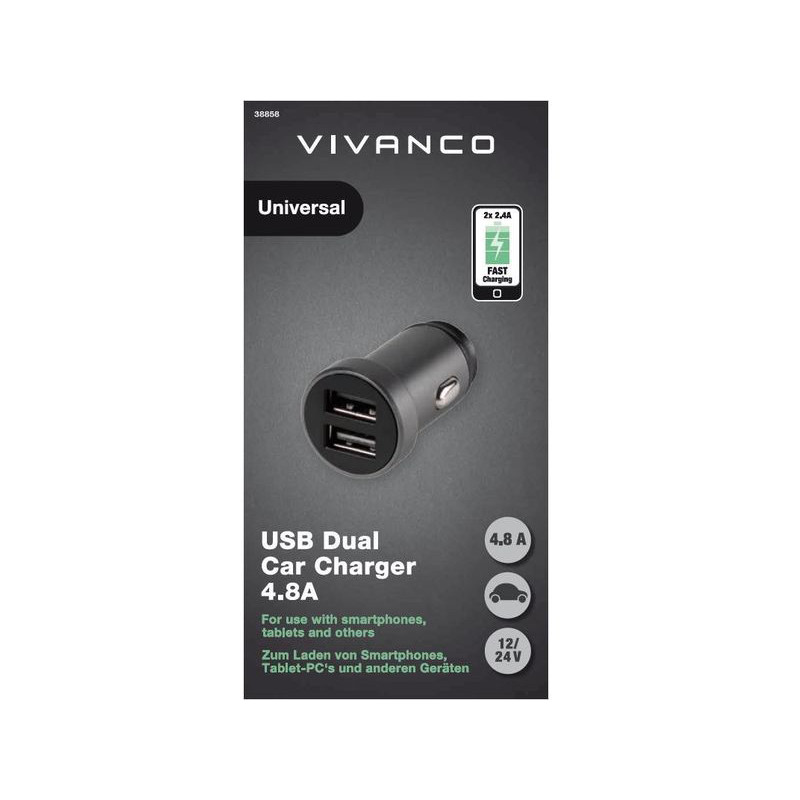 Vivanco автомобильная зарядка USB 2x2.4A (38858)