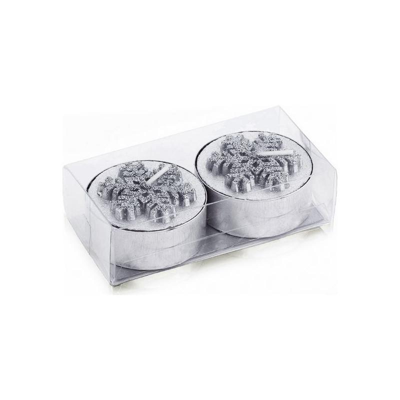 Candle Set (2 pcs) Metallic 143181 (Silver)