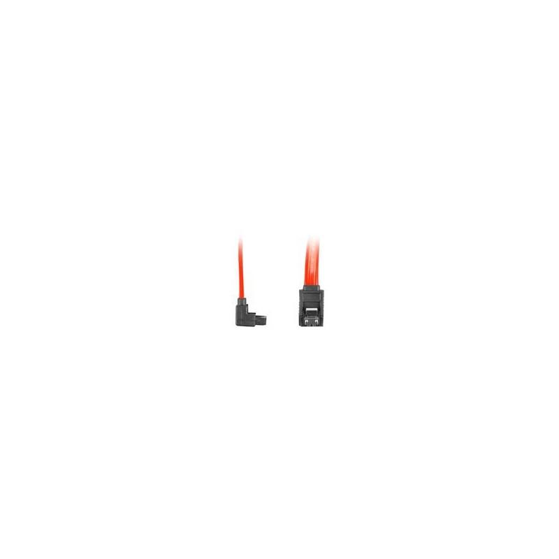 """LANBERG CA-SASA-13CC-0070-R Lanberg cable SATA DATA II (3GB/S) F/F 70cm; METAL CLIPS ANGLED RED"""
