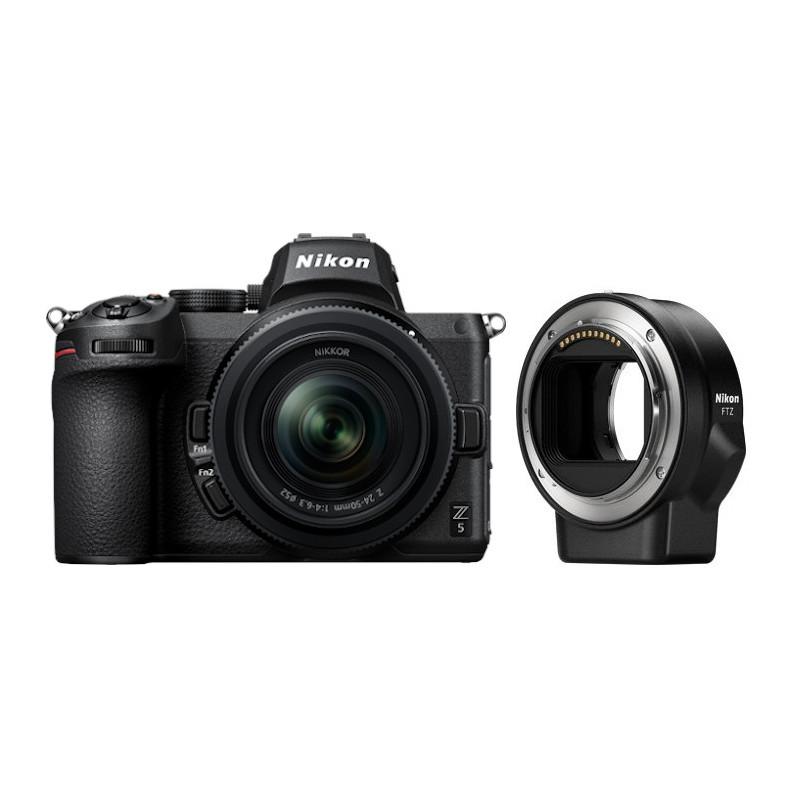Nikon Z5 + Nikkor Z 24-50mm f/4-6.3 + objektiivi adapter FTZ
