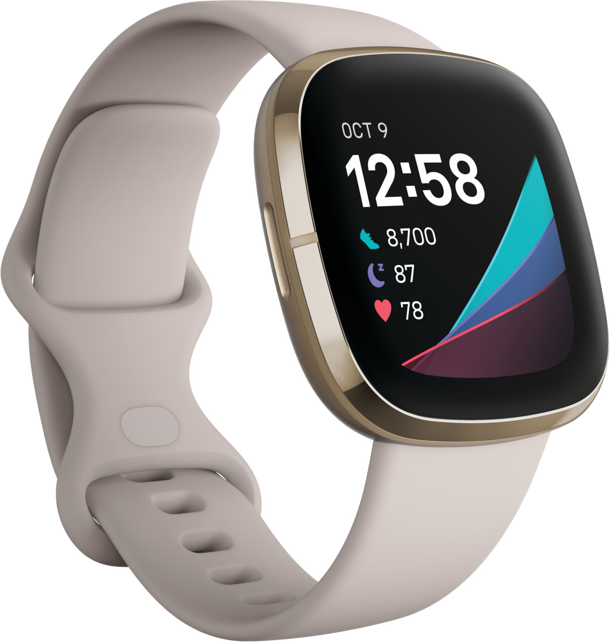 Fitbit Sense, lunar white/soft gold stainless ste..