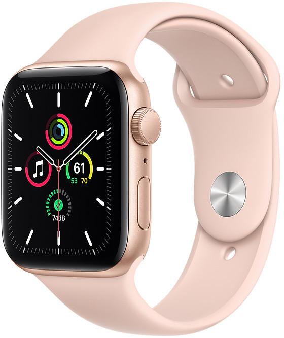 Apple Watch SE GPS 44mm Sport Band, gold/pink san..
