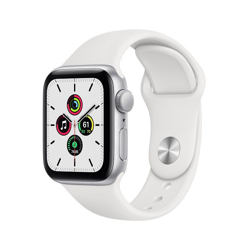 Apple Watch SE GPS 40mm Sport Band, silver/white