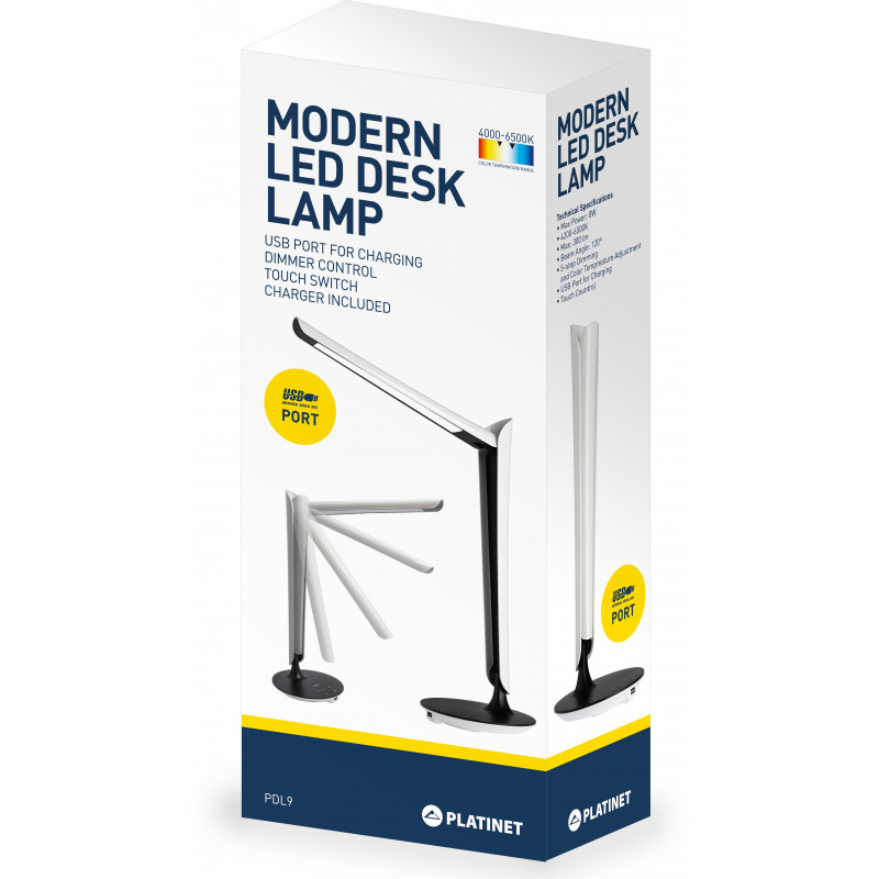 Platinet desk lamp with USB charger PDL9 8W (43128)