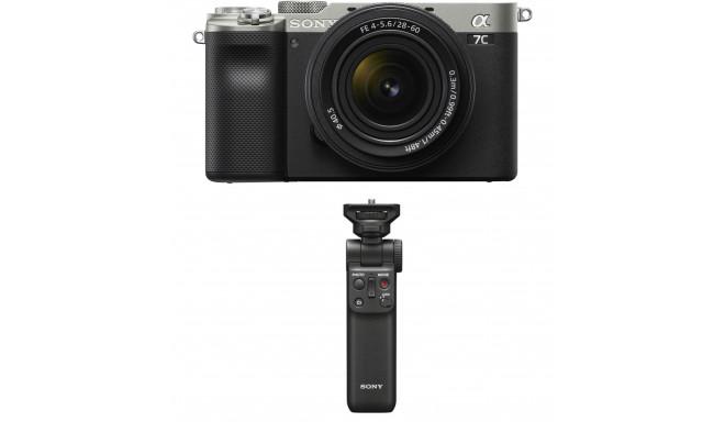 Sony a7C + 28-60mm Kit + Sony käepide-ministatiiv, hõbedane