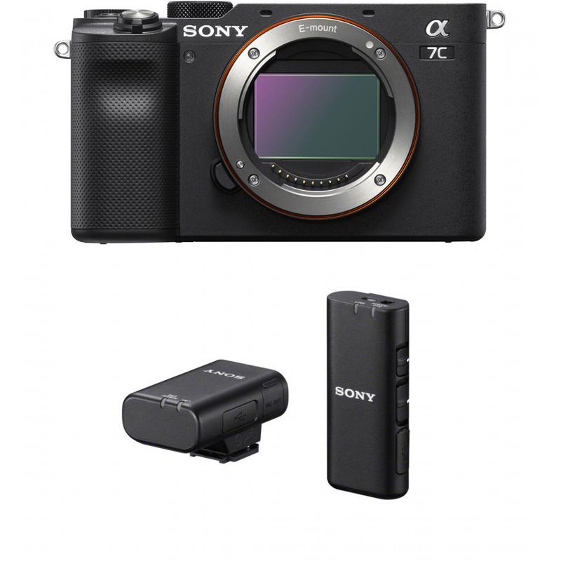 Sony a7C + Sony juhtmevaba mikrofon, must