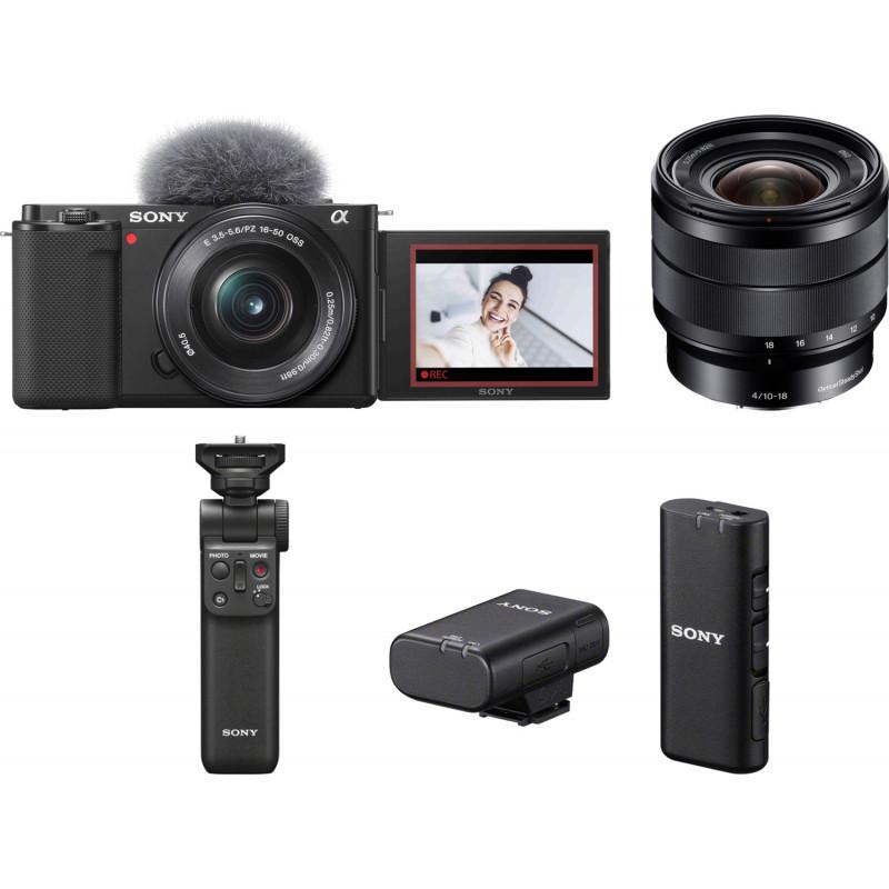 Sony ZV-E10 + 16-50mm + 10-18mm + käepide + juhtmevaba mikrofon