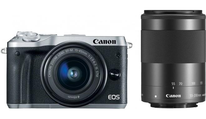 Canon EOS M6 + EF-M 15-45 мм + 55-200 мм IS STM, серебристый