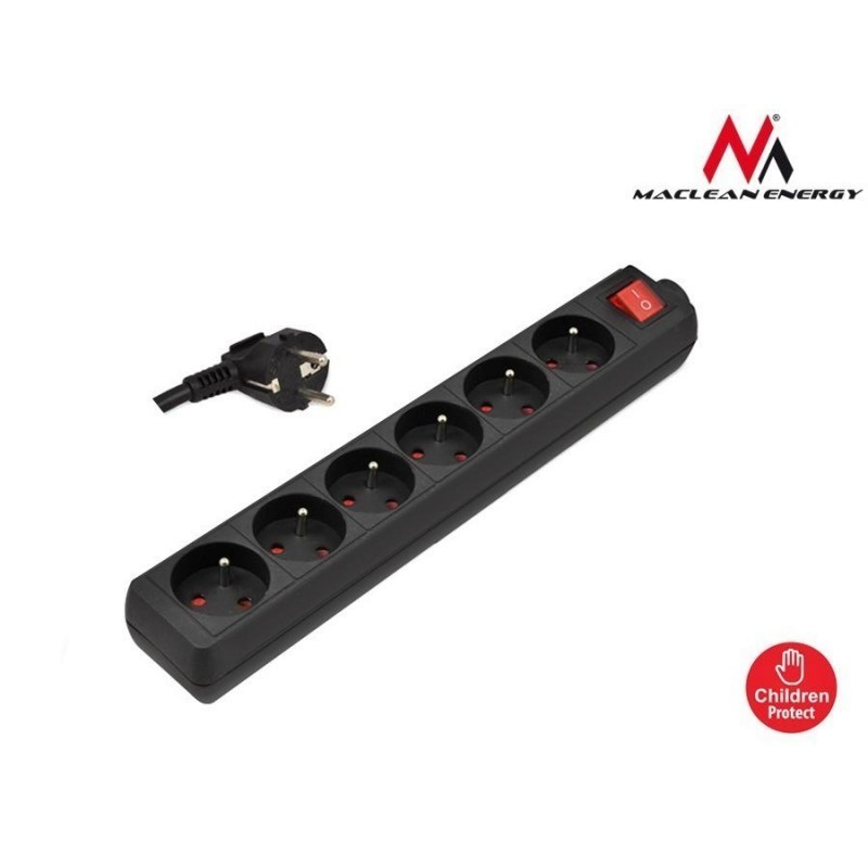 maclean mce61 power strip 6 outlet with switch 1 4m surge protectors photopoint. Black Bedroom Furniture Sets. Home Design Ideas