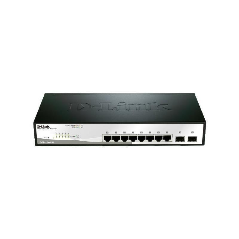 D-Link 10-port 10/100/1000 Gigabit Smart Switch including 2 Combo 1000BaseT/SFP