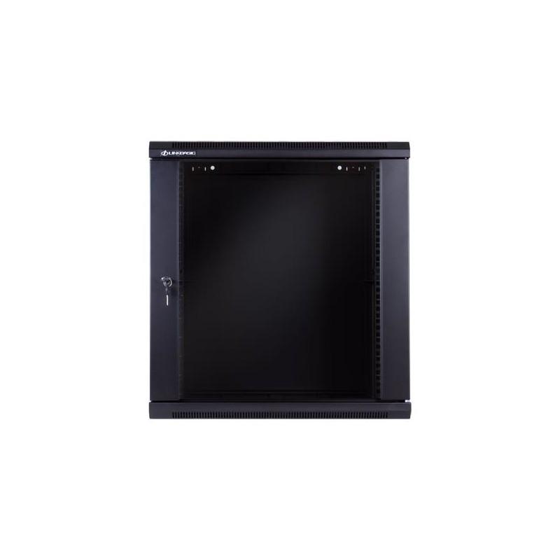 Linkbasic rack wall-mounting cabinet 19'' 15U 600x600mm black (glass front door)