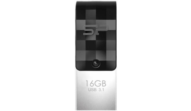 Silicon Power mälupulk 16GB Mobile C31 USB-C, must