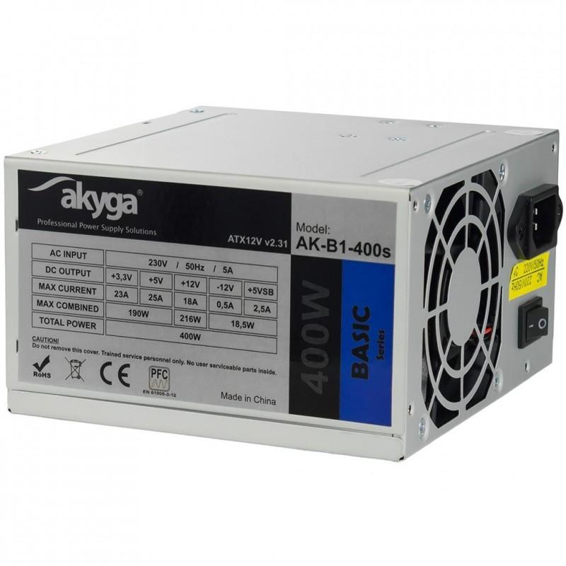 Akyga Basic ATX Power Supply 400W AK-B1-400S Fan8cm P4 2xSATA