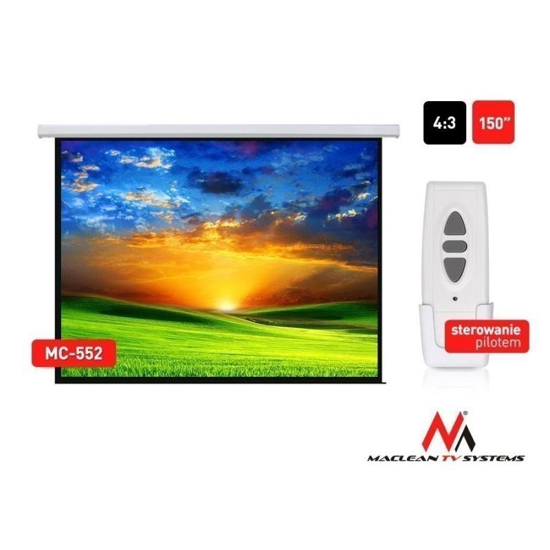 Maclean MC-552 Economy Budget Auto-lock Manual Projection Screen-150'' 4:3