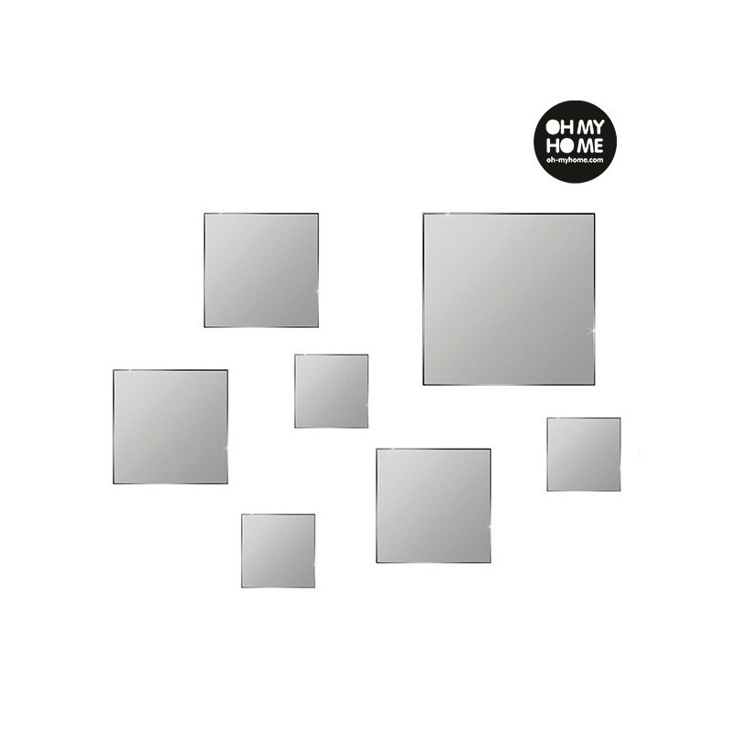 oh my home geometric mirrors with stickers pack of 7 photopoint. Black Bedroom Furniture Sets. Home Design Ideas