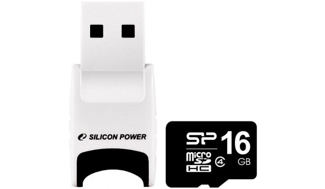 Silicon Power mälukaart microSDHC 16GB Class 4 + USB lugeja