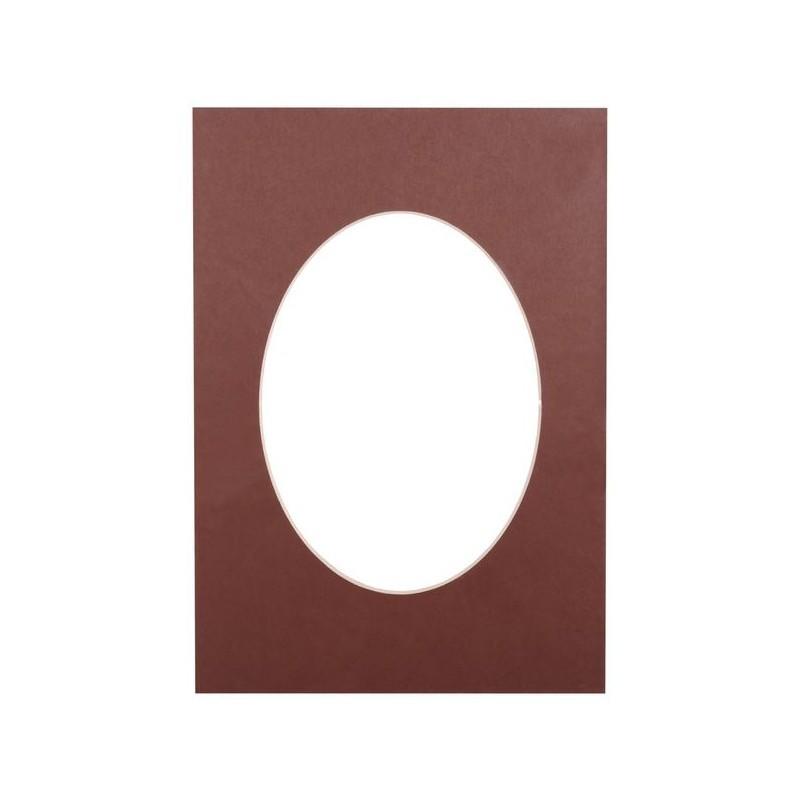 Paspartuu 21×29,7, tumepruun ovaal