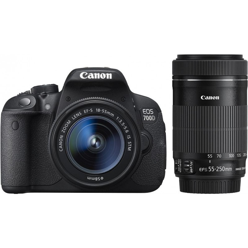 canon eos 700d 18 55mm stm 55 250mm stm kit dslrs photopoint. Black Bedroom Furniture Sets. Home Design Ideas