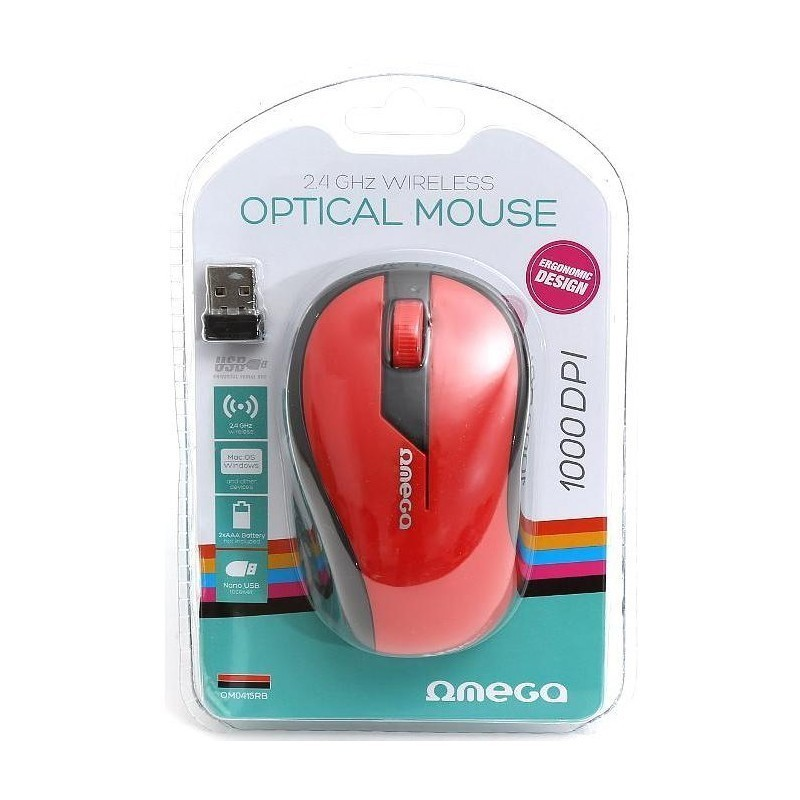 Omega mouse OM-415 Wireless, red/black