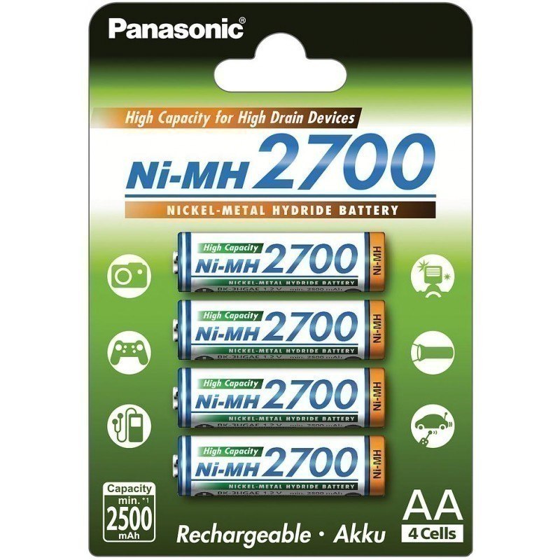 panasonic rechargeable battery nimh 2700mah aa 4b rechargeable batteries photopoint. Black Bedroom Furniture Sets. Home Design Ideas