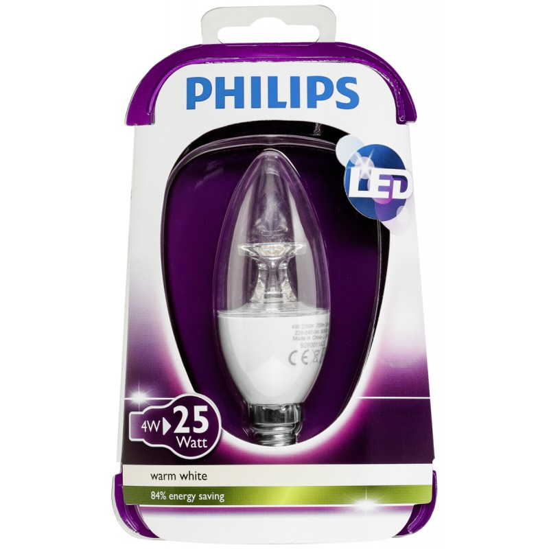 Philips LED Candle E14 4W (25W) Warm White Clear