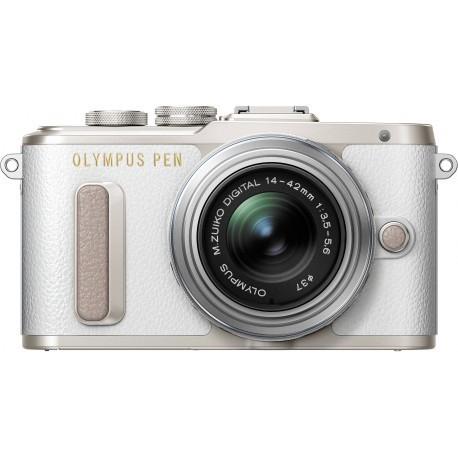 Olympus PEN Lite E-PL8 + 14-42mm II R Kit, balts/sudrabots