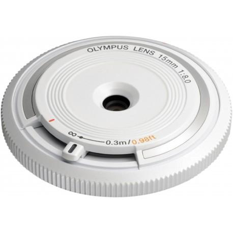 Olympus kerekork-objektiiv 15mm f/8.0, valge
