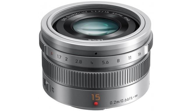 Panasonic Leica DG Summilux 15mm f/1.7 ASPH objektiiv, hõbedane