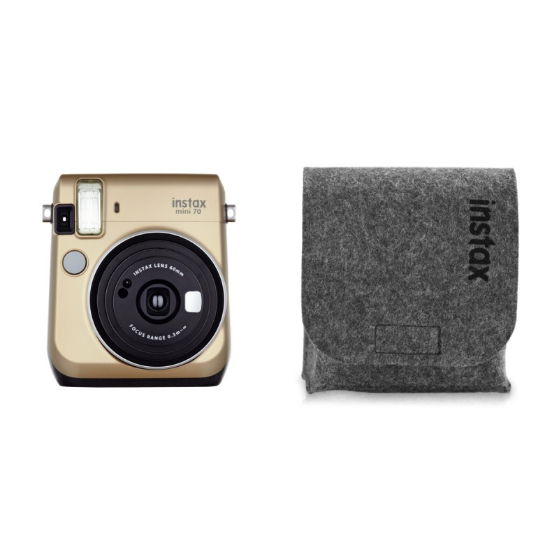 Fujifilm instax mini 70 gold felt bag instant cameras for Housse instax mini 70