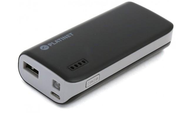 Platinet Power Bank 4400mAh + kabatas lukturis, melns/pelēks