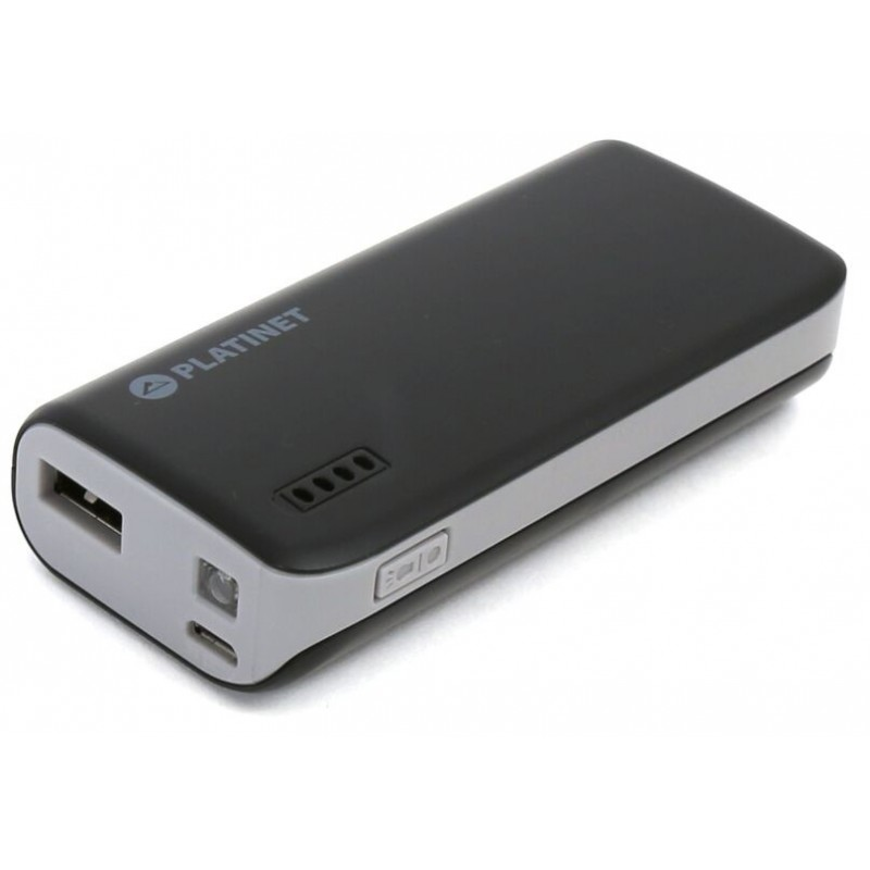 Platinet Power Bank 4400mAh + torch, black/grey